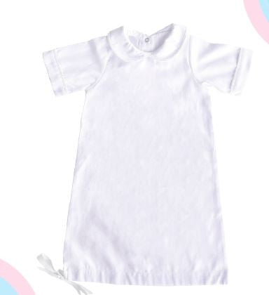 White Piping Infant Day Gown