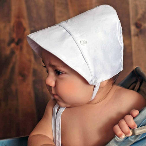Boys Solid White Bonnet