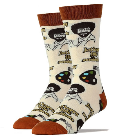 Just Happy Little Accidents - Bob Ross - Crew Socks