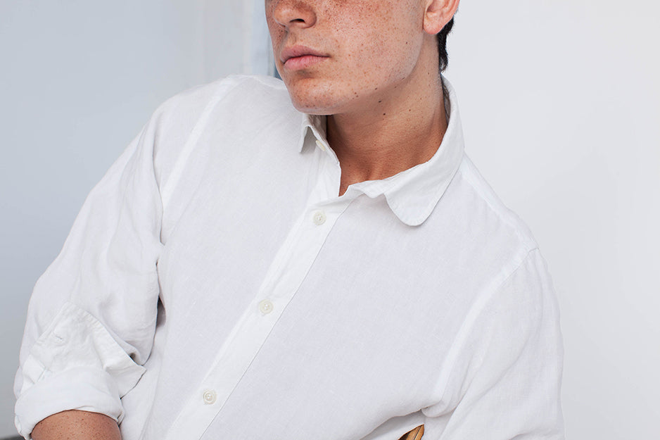 club collar long-sleeve linen shirt in white