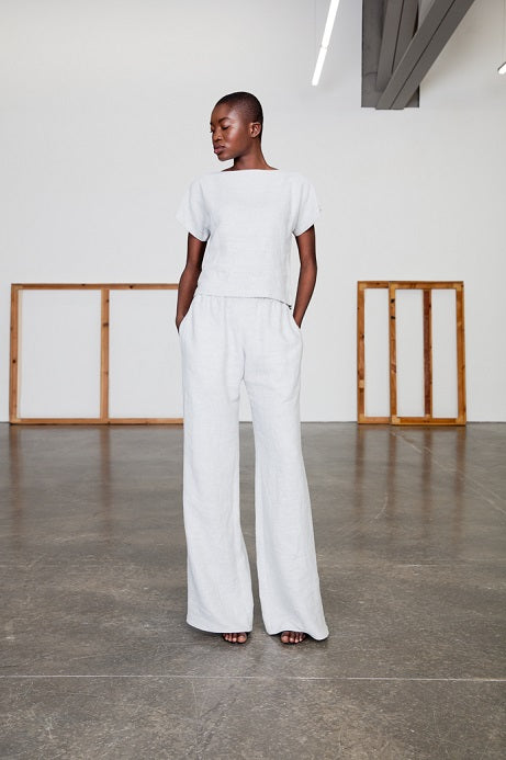 white linen shirt and pants