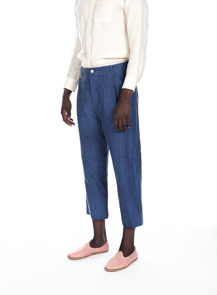 Blluemade linen pant in indigo for him and her