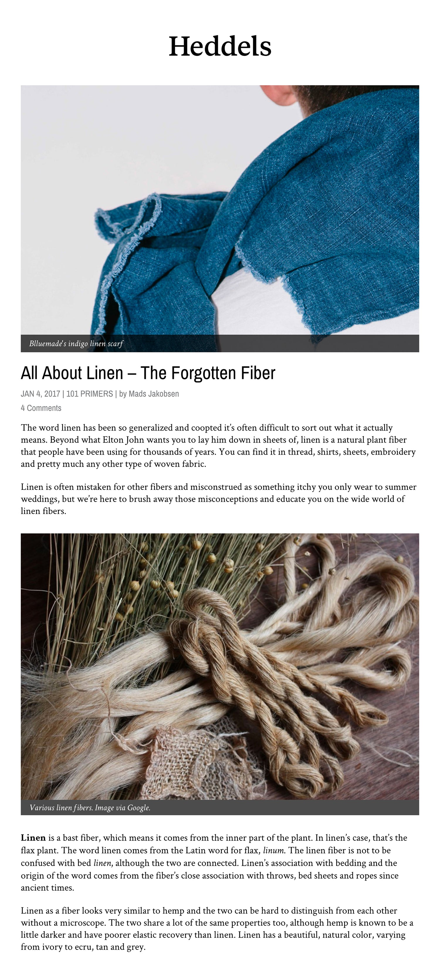 Heddels Article Blluemade All About Linen – The Forgotten Fiber
