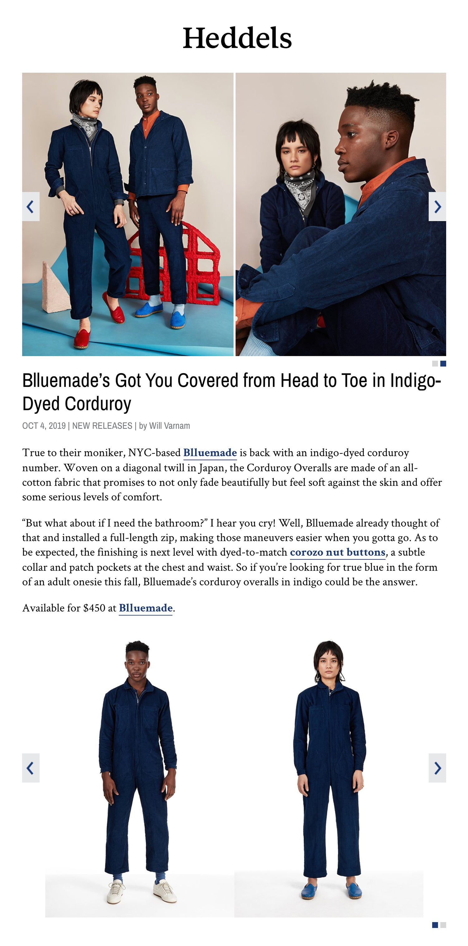 Blluemade Press Heddels Blluemade's Got You Covered from Head to Toe in Indigo-Dyed Corduroy