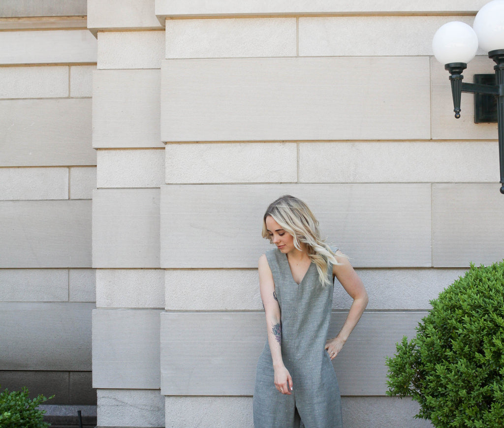 Mary Ellen Skye, blluemade, linen, sleeveless jumpsuit