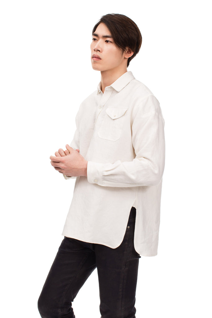 blluemade french linen pullover workwear oyster
