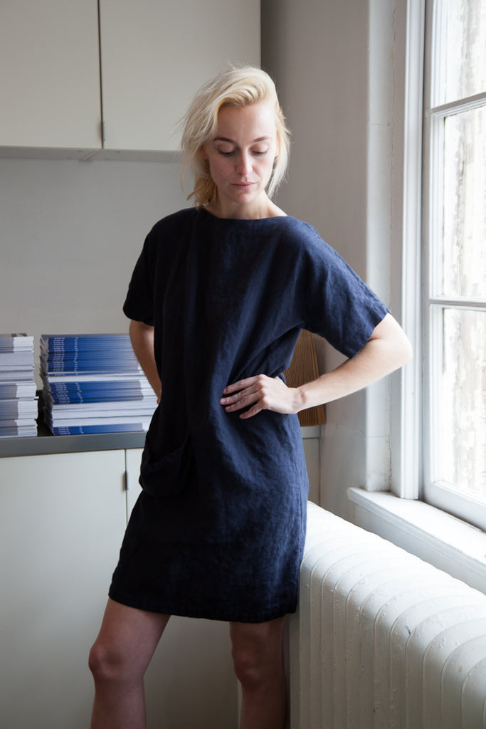 victoria camblin blluemade navy soft pocket dress