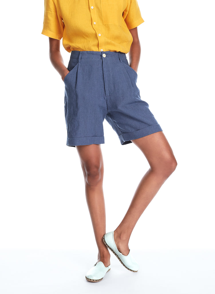 Blluemade linen cuffed shorts in cornflower blue