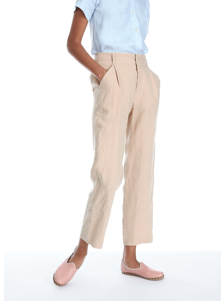 Blluemade linen pant in sand, khaki for him and her