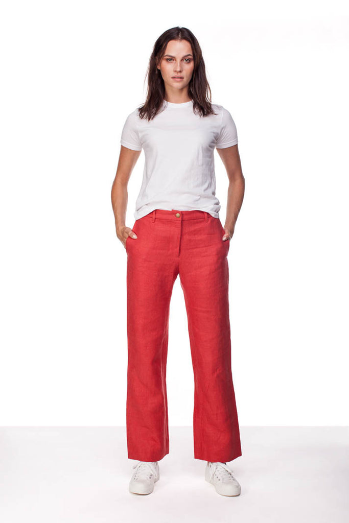 denim-weight red linen trousers