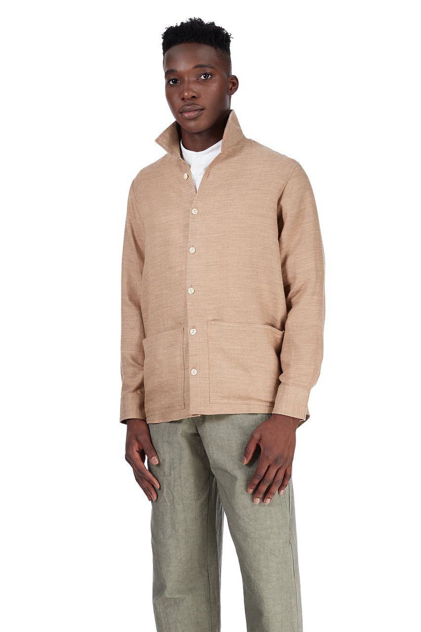Jacket Shirt in Khaki Wool-Linen