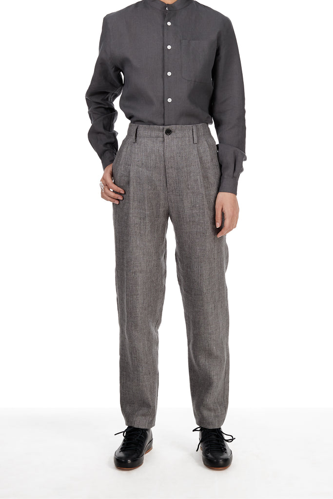 Pleated Pant in Charcoal Grey Wool-Linen