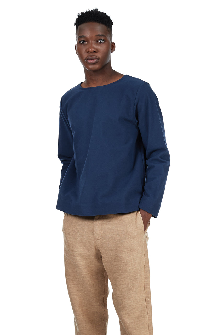 Long-Sleeved Tee in Blue Cotton Flannel