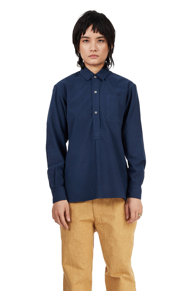 French Pullover in Blue Cotton Flannel