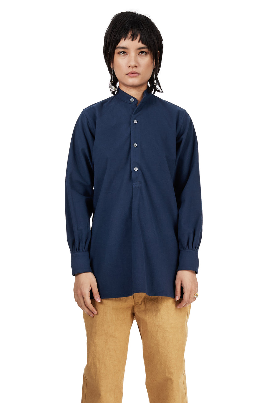 Monk Pullover in Blue Cotton Flannel