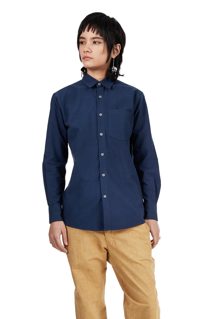 *Updated Longer Fit* Long-Sleeved Shirt in Blue Cotton Flannel