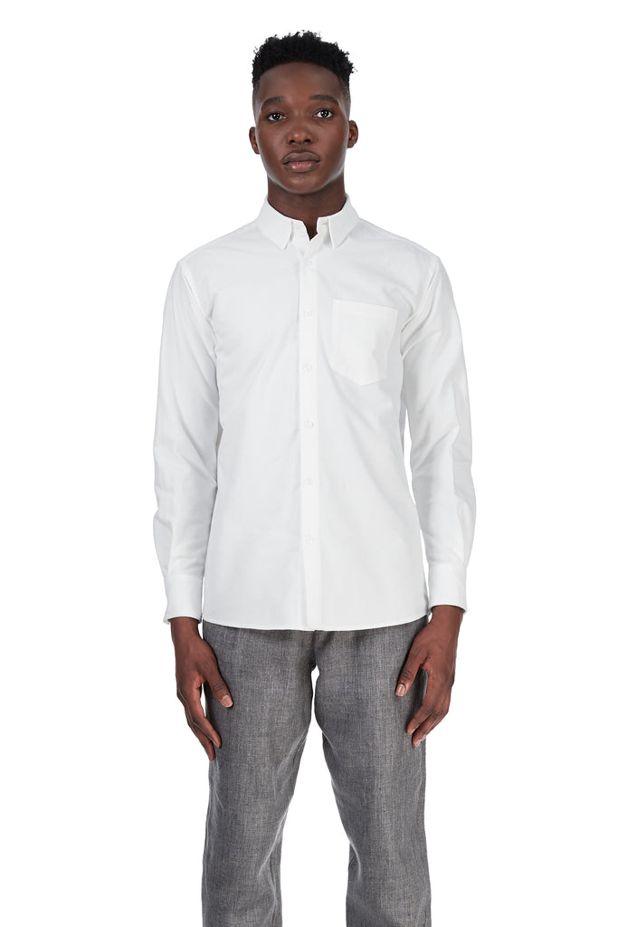 *Updated Longer Fit* Long-Sleeved Shirt in White Cotton Flannel