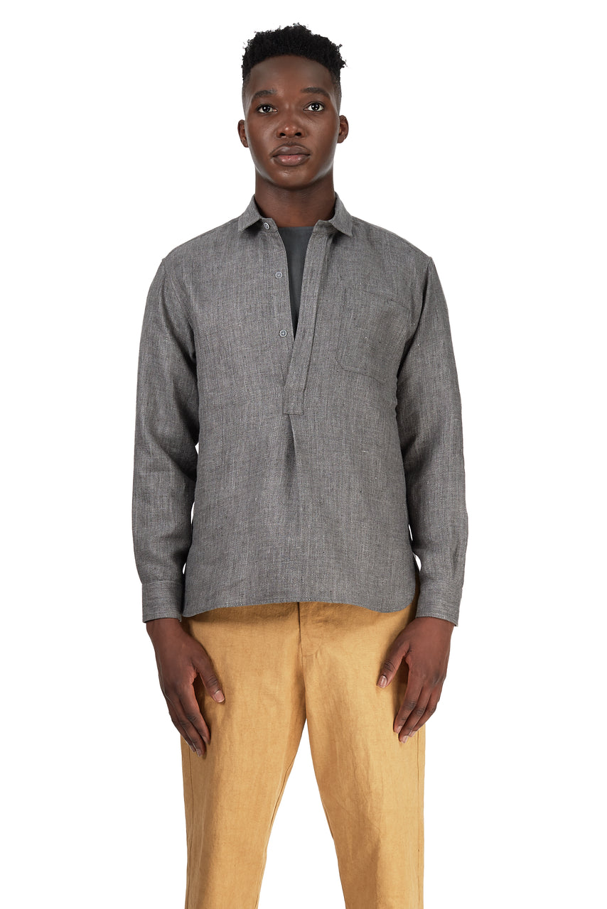 French Pullover in Charcoal Grey Wool-Linen