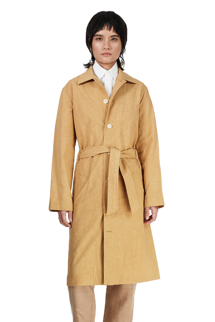 Trench Coat in Mustard Canvas