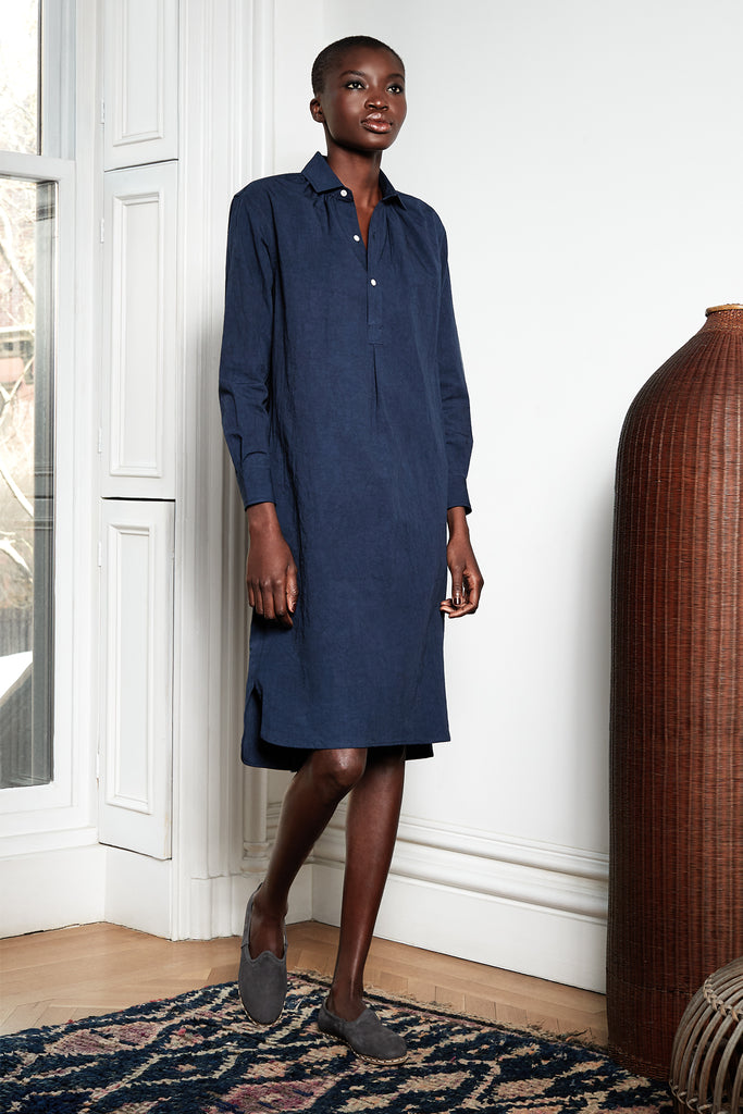 Long French Dress in Deep Blue