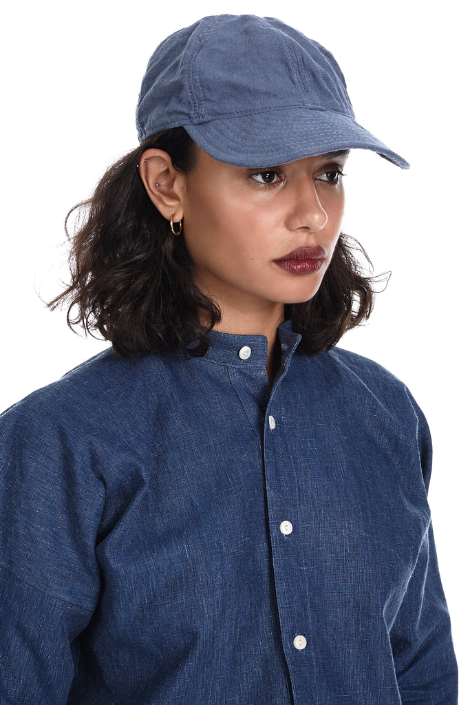"Institute 193 (1B) ""Bee"" Linen Cap in Cornflower Blue"