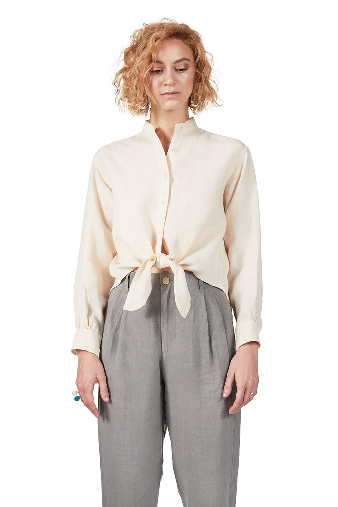 Long-sleeved Tie-front in Shell Linen