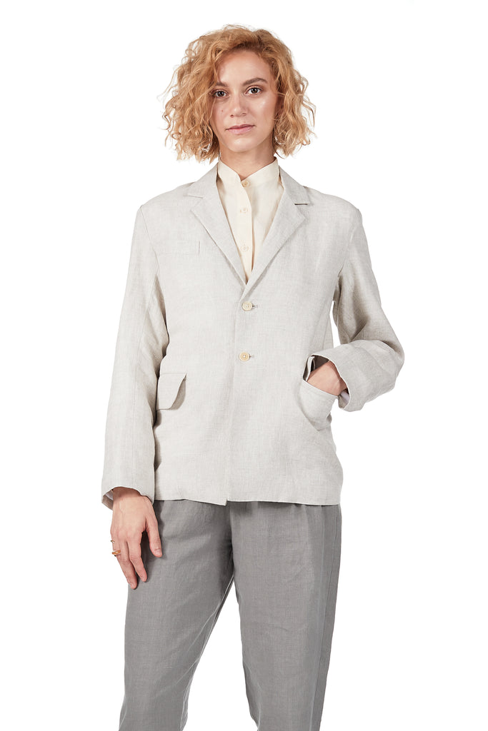 Long Lined Blazer in Oatmeal Linen