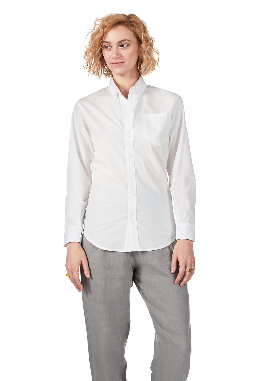 Long-sleeve Button Down in White Japanese Cotton