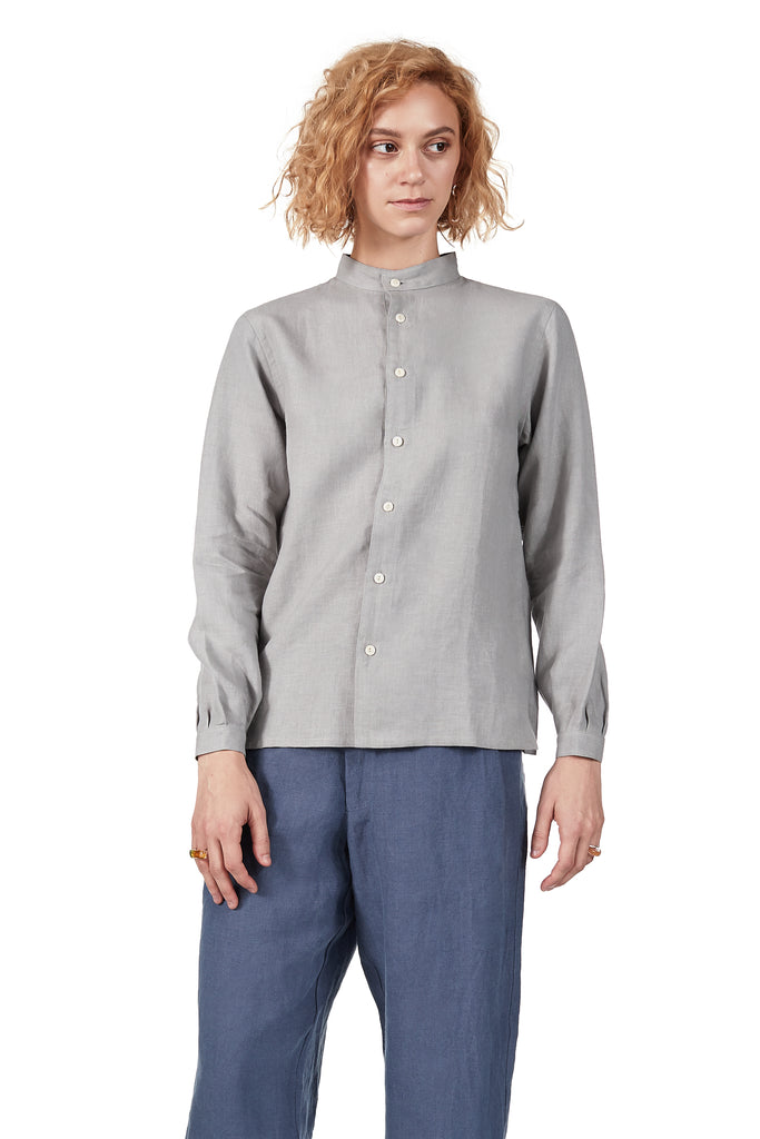 Classic Monk Shirt in Fog Linen