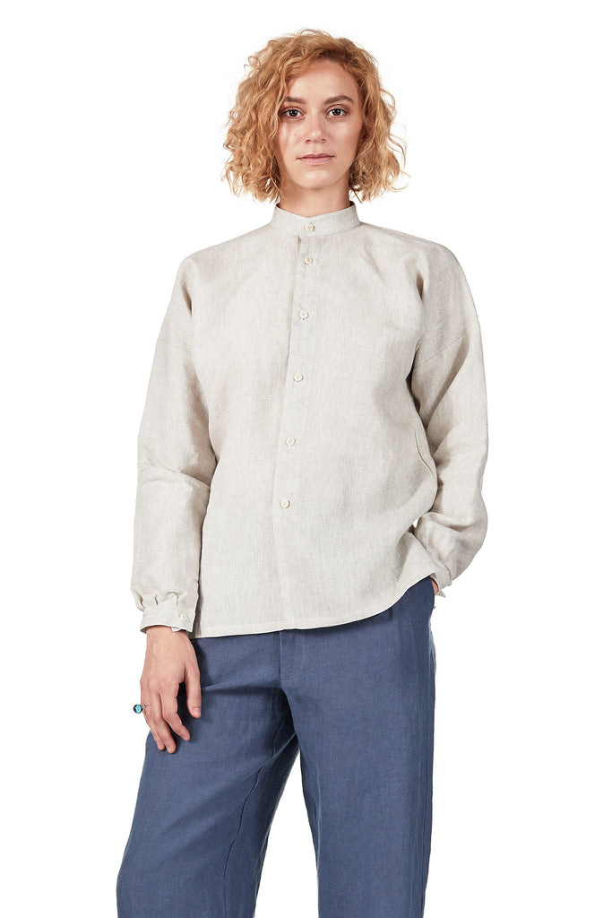Drop-sleeve Monk Shirt in Oatmeal Linen