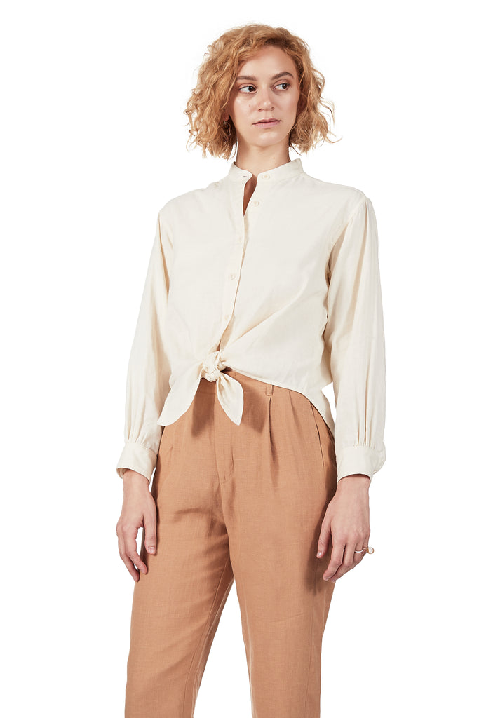 Long-sleeved Tie-front in Vanilla Double-cloth Gauze