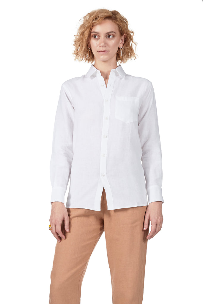 Long-sleeve Button Up in White Linen