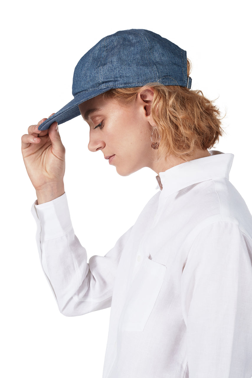 Cap in Denim-Blue Linen