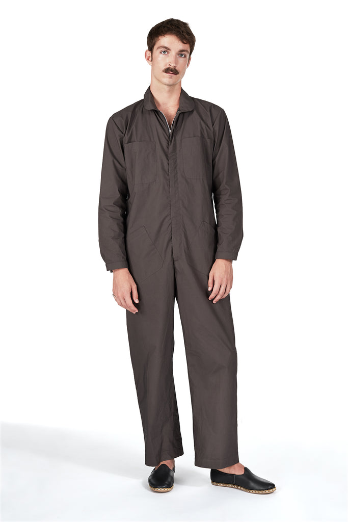 Jumpsuit in Charcoal Japanese Cotton