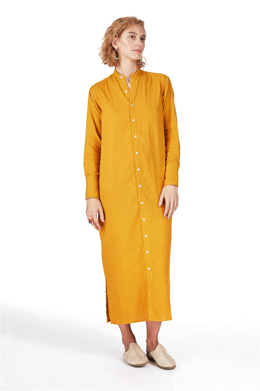 Tunic Dress in Turmeric Double-cloth Gauze