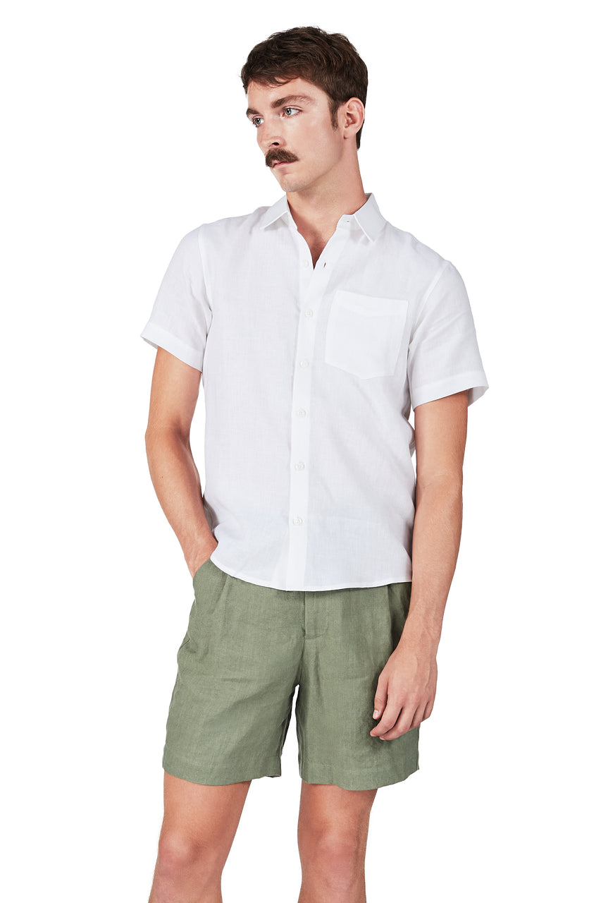 Short-sleeved Shirt in White Linen