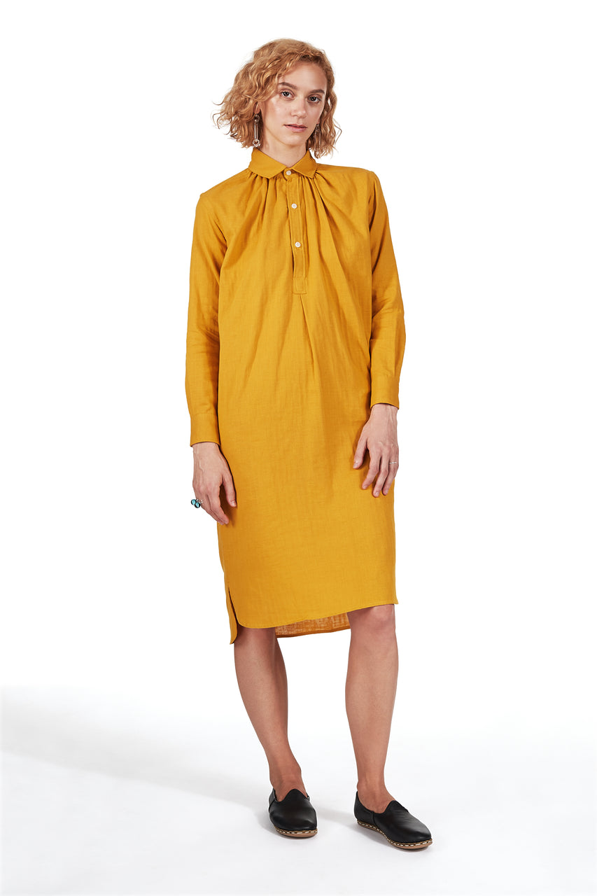 New French Dress in Turmeric Double-cloth Gauze