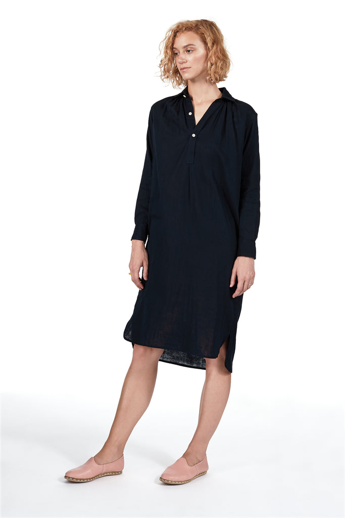 New French Dress in Navy Double-cloth Gauze