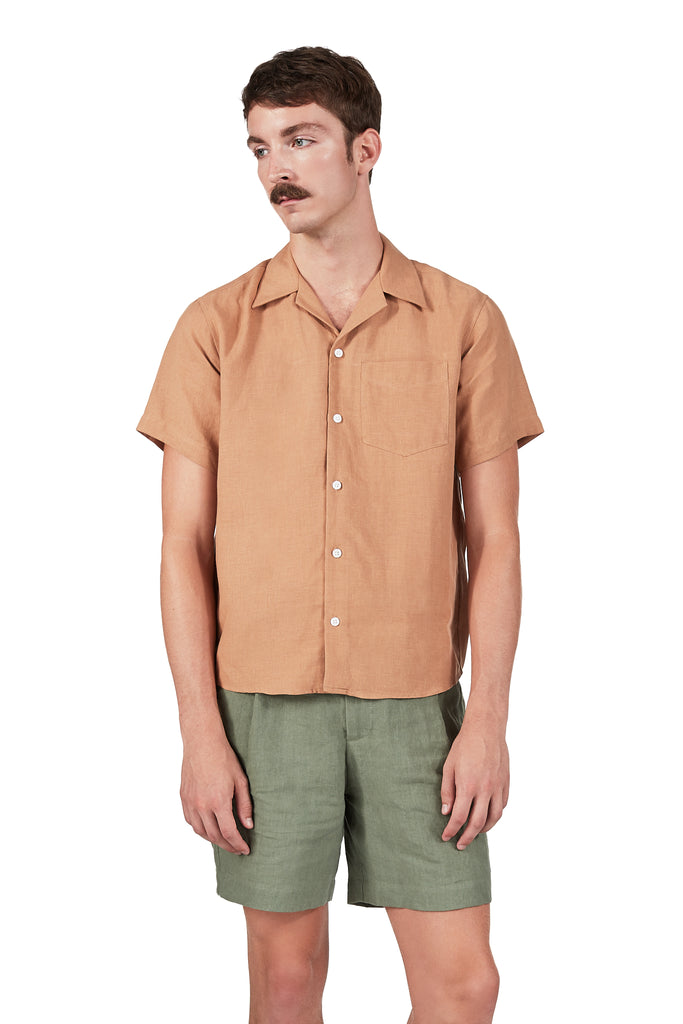Camp Collar Shirt in Toast Linen
