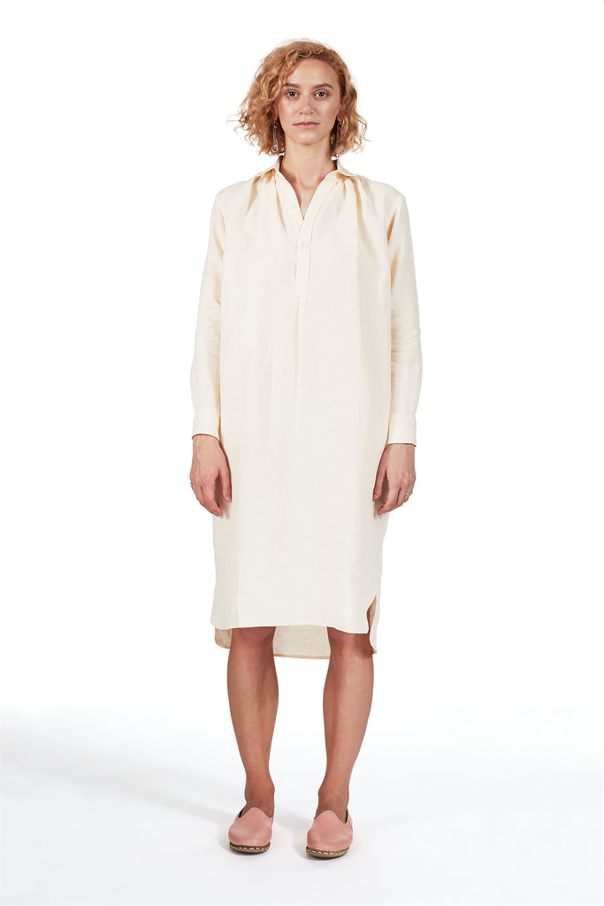 New French Dress in Shell Linen