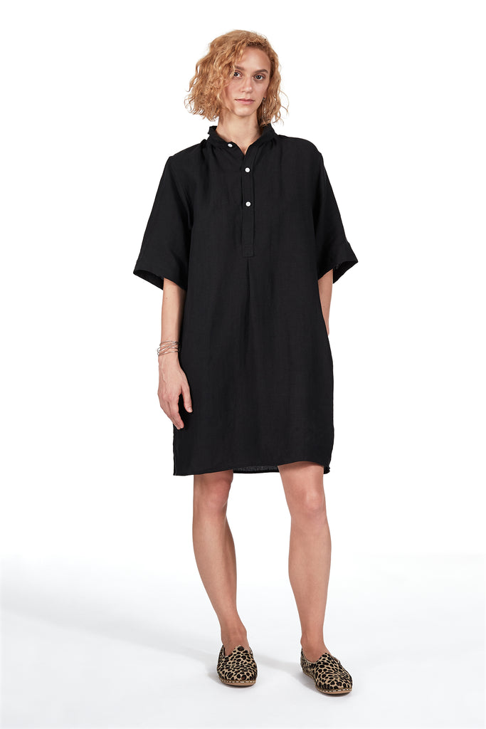Belgian Dress in Black Linen