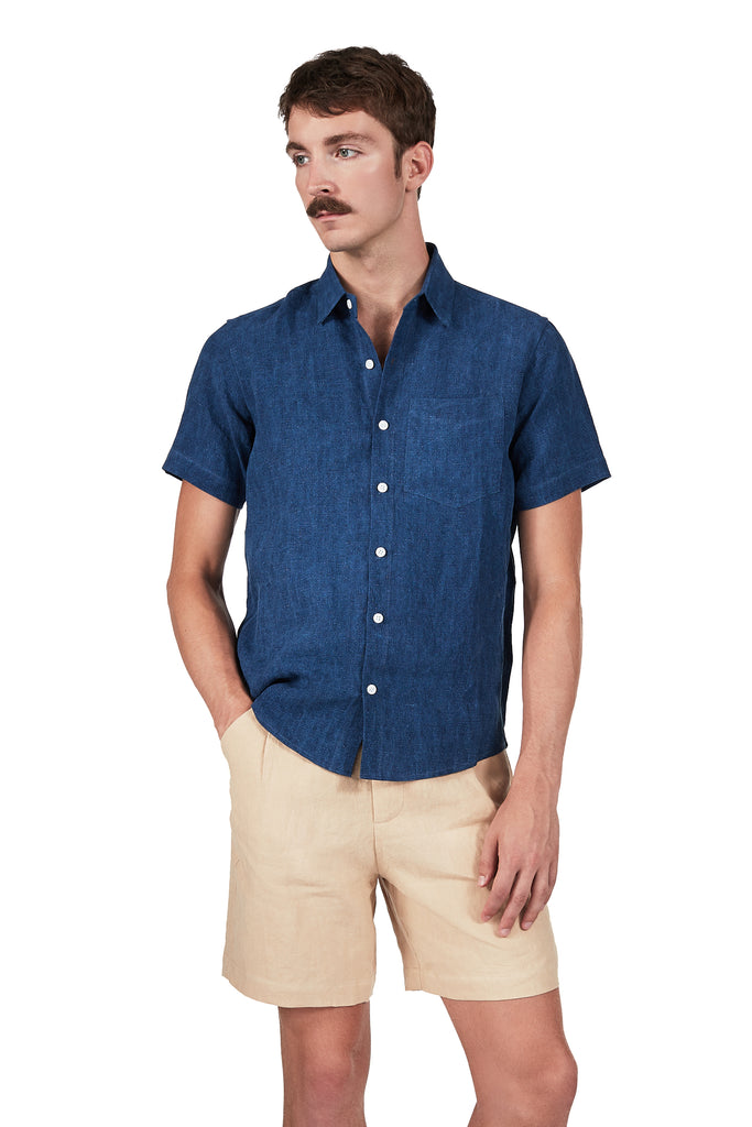 Short-sleeved Shirt in Indigo Linen