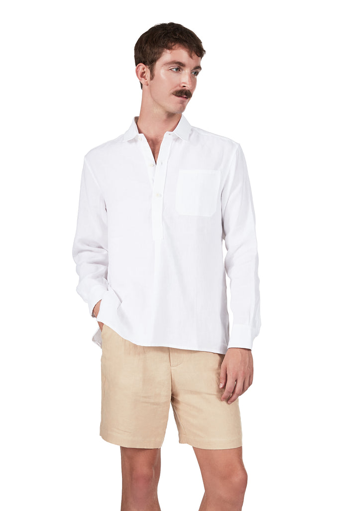 French Pullover in White Linen