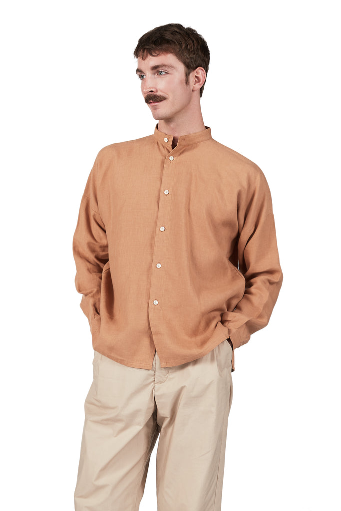 Drop-sleeve Monk Shirt in Toast Linen