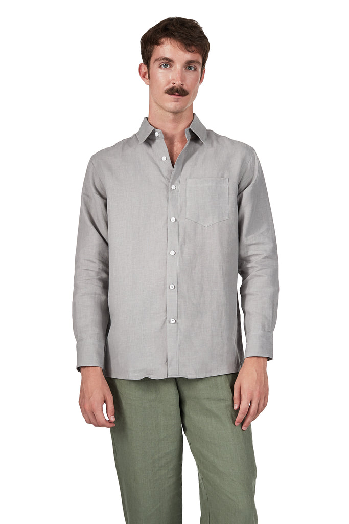 Long-sleeve Button Up in Fog Linen