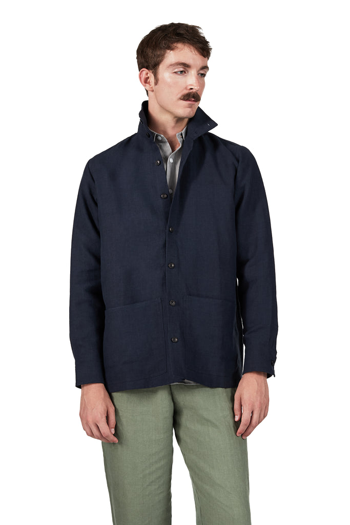 Jacket Shirt in Linen Navy