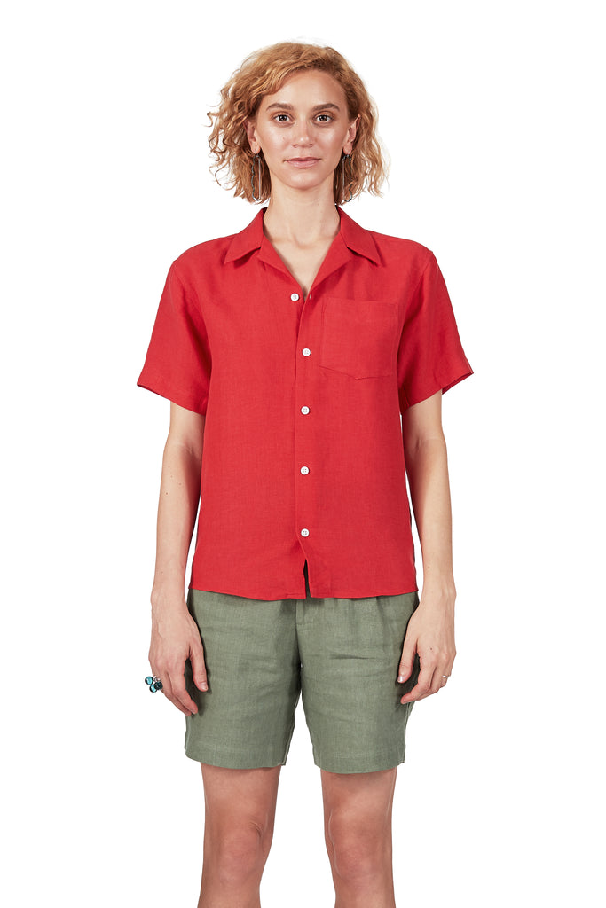 Camp Collar Shirt in Poppy Linen