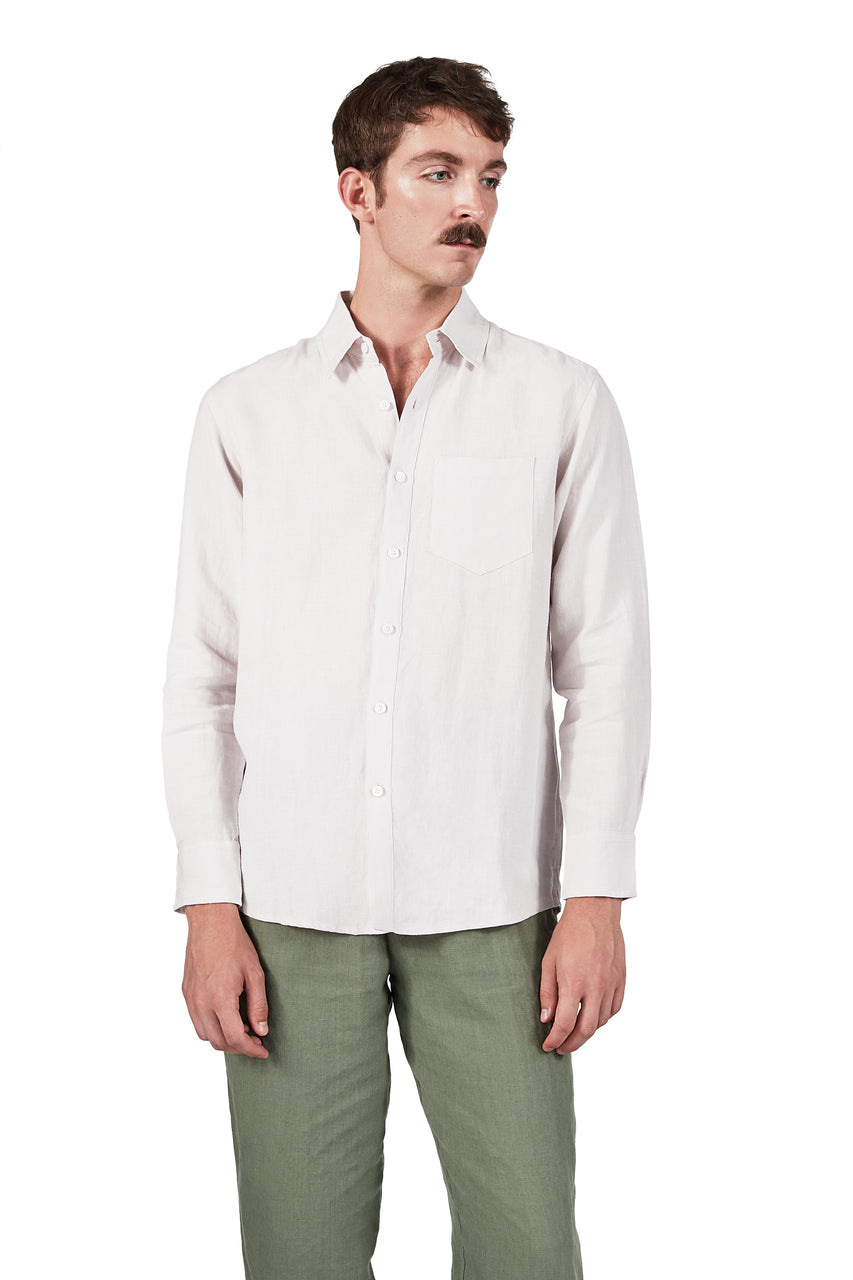 Long-sleeve Button Up in Glacial Pink Linen
