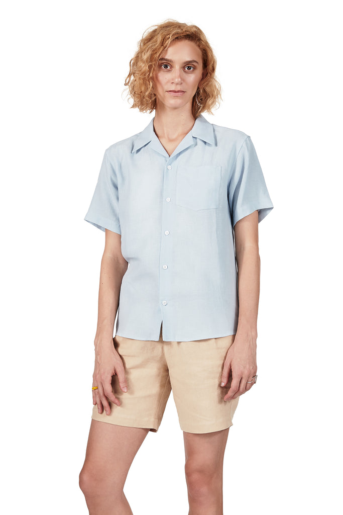 Camp Collar Shirt in Sky Blue Linen