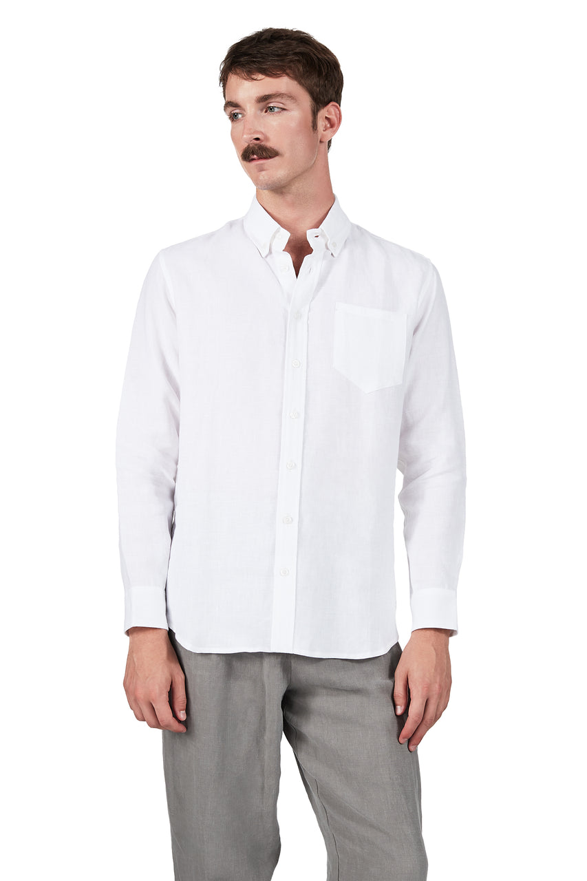 Long-sleeve Button Down in White Linen